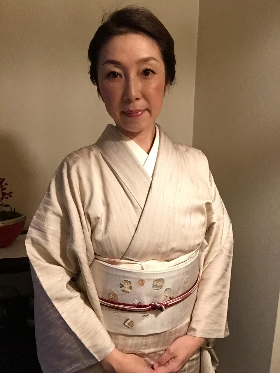 着物コーディネート(お出掛け篇)10月初旬の観劇での着物の装い、まだ暑いので単衣です!