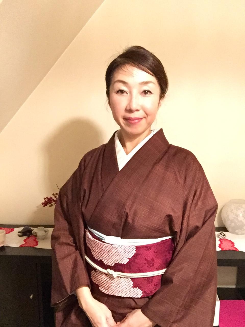 着物コーディネート(普段着篇) 米沢紬、ボンボリ房が冬っぽくて可愛いい!