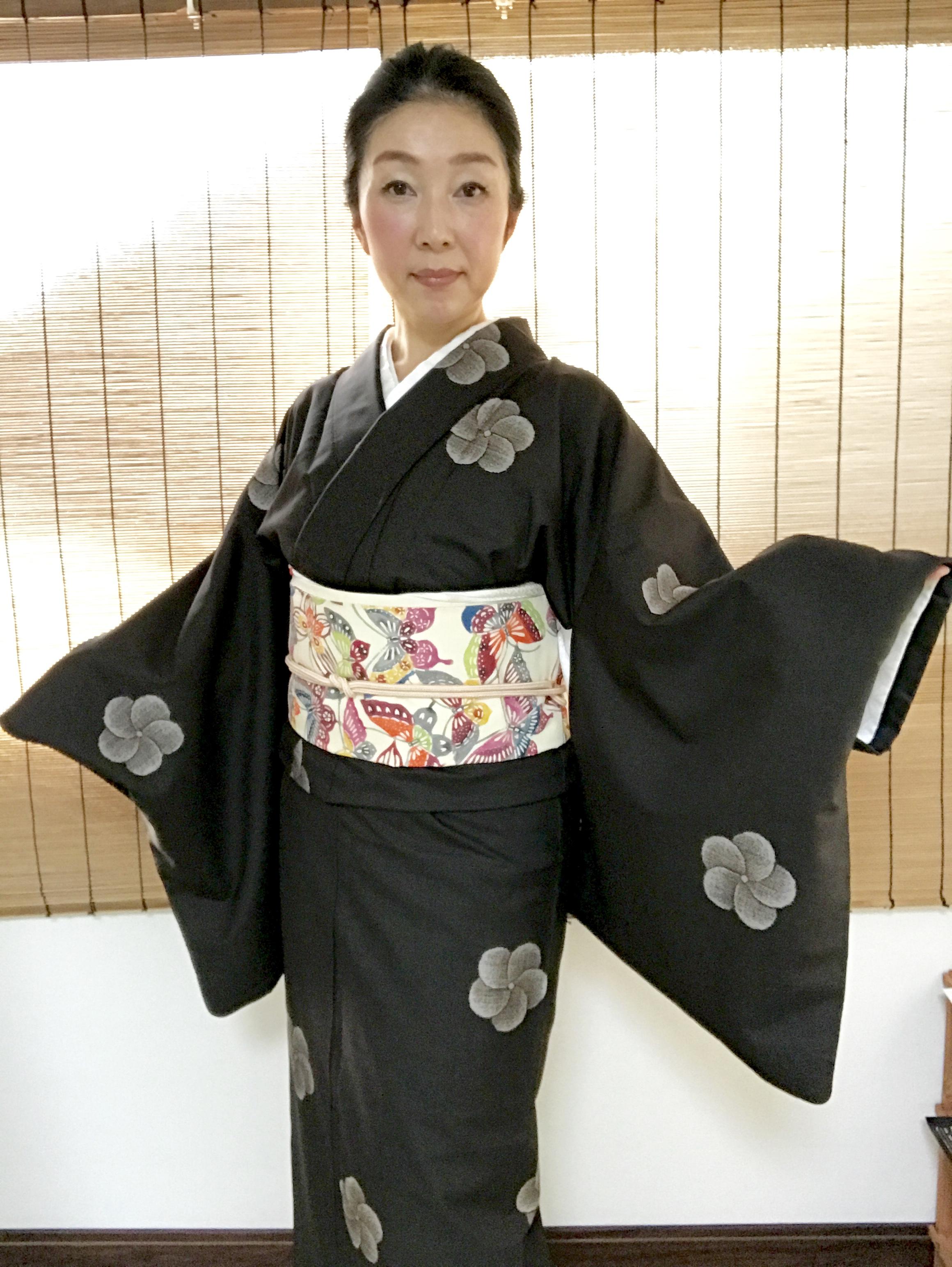 """着物コーディネート""""泥染め大島紬""""を可愛らしく着てみる♪"""