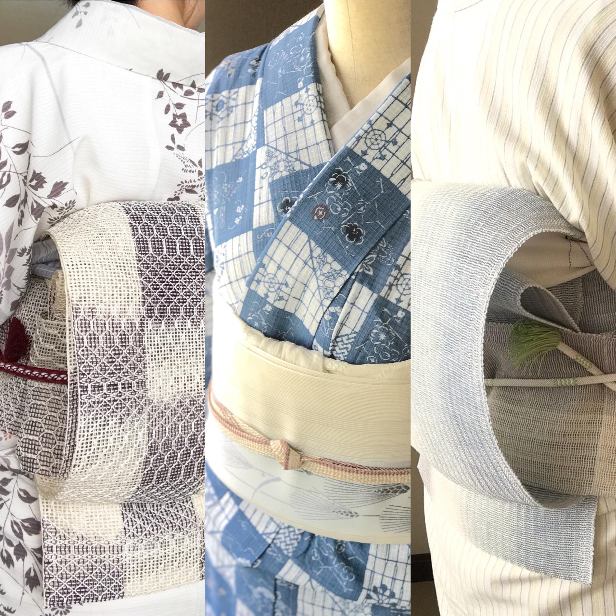 """着物コーディネート """"7〜8月によく着た夏着物"""" を振り返る。湿度が高く暑い日々、どんな着物で過ごしてたのかな…"""