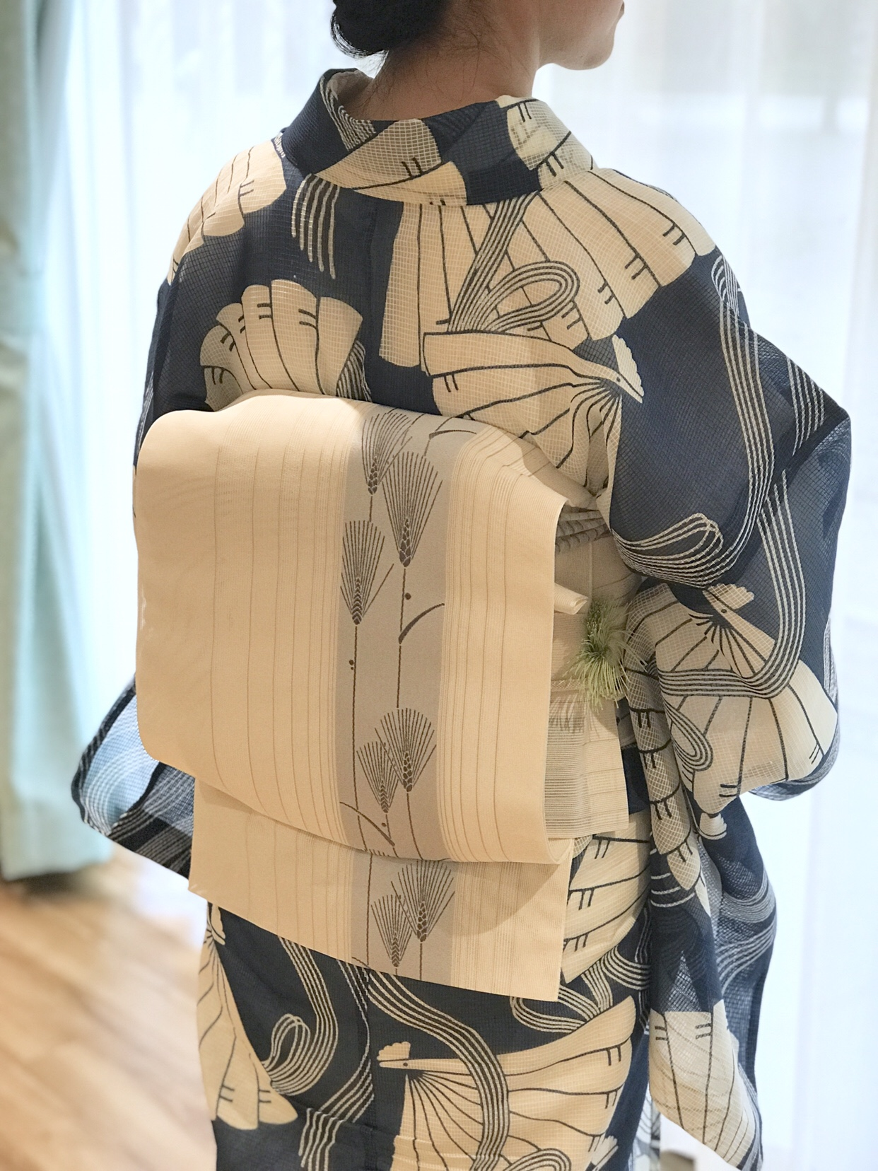 絹紅梅浴衣、博多織八寸名古屋帯