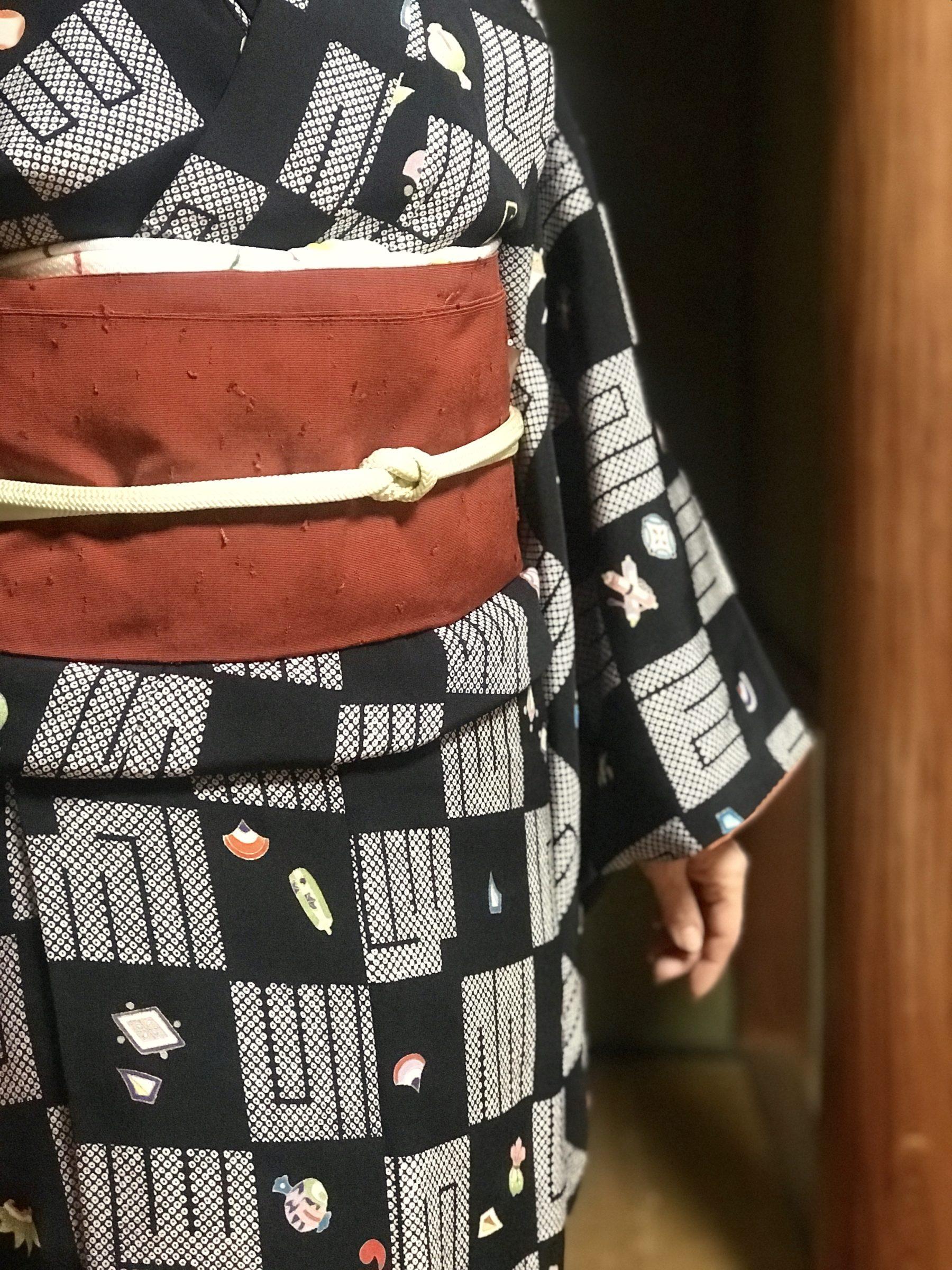 着物コーディネート 源氏香 市松模様 宝尽し 小紋着物