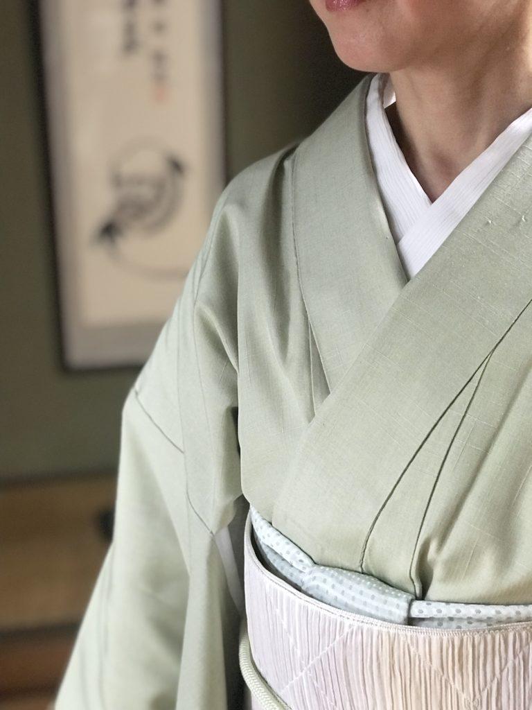 着物コーディネート 単衣 博多八寸名古屋帯 楊柳の半衿